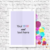 Blank on the wall with colorful balloons. Vector illustration Stock Photography