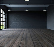 Blank wall in empty room with windows Stock Photography
