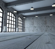 Blank wall in empty room with windows Royalty Free Stock Photo