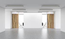 Blank wall in interior. Office entrance interior with blank white wall. Mock up, 3D Rendering Royalty Free Stock Photography
