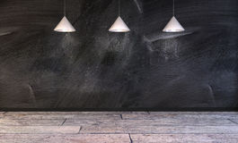 Blank wall with lamps above Stock Image