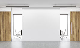 Blank wall in office front. Front view of blank white wall in office  interior. Mock up, 3D Rendering Royalty Free Stock Images