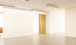 Blank wall in office. Side view of blank white wall in office interior. Mock up, 3D Rendering Royalty Free Stock Photos