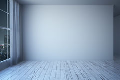 Blank wall in room at night Stock Image