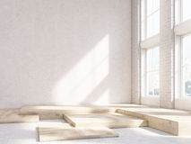 Blank wall wooden fragments. Sunlit interior design with blank concrete wall and wooden fragments on the floor. Mock up, 3D Rendering Stock Images