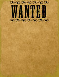 Blank Wanted Poster. A blank wanted poster with floral design around text. Plenty of open space over aged paper background. Fully scalable  illustration Royalty Free Stock Images