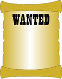 "Blank wanted scroll. Blank yellow (gold) parchment scroll with text ""wanted"" in uppercase black letters, typical of early days in United States when outlaws Stock Images"