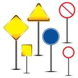 Blank warning road sign Stock Photos