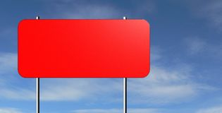 Blank Warning Sign. Rendering of a blank red traffic sign against a blue sky. Ready for your text Stock Photos