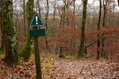 A blank warning sign along a forest trail. In autumn or winter, with many leaves on the ground stock image