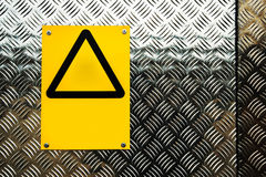Blank warning sign on construction site Royalty Free Stock Photo