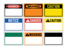 Blank warning signs. Set of warning signs about the dangers. Dan Stock Image