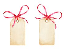 Blank watercolor gift tags with red ribbon bows. Isolated on white background. Paper design elements in vintage style Stock Image