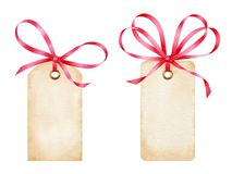 Blank watercolor gift tags with red ribbon bows. Isolated on white background. Paper design elements in vintage style Stock Photos
