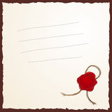 Blank with wax seal Royalty Free Stock Photography
