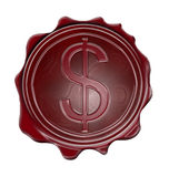 Blank wax seal with dollar symbol Stock Images
