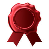 Blank wax seal with red ribbon. 3D rendering of  the Blank wax seal with red ribbon Stock Images