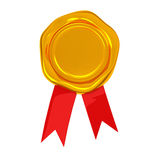 Blank wax seal with ribbon, 3d. Blank golden wax seal with red ribbon, 3d Stock Photos