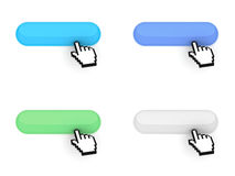 Blank web buttons with hand cursor Royalty Free Stock Image