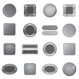 Blank web buttons icons set, monochrome style Royalty Free Stock Photography