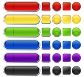 Blank web buttons. Set of different shape and color blank web buttons Royalty Free Illustration