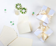 Blank wedding invitation. With white boxes stock photos