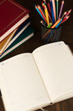 Blank weekly. And education supplies close up Stock Images