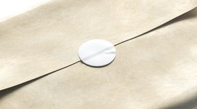 Blank white adhesive round sticker on craft wrapping paper mockup. 3d rendering. Empty delivery pack with glue stick mock up. Clear product crumpled package royalty free stock images