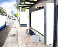 Blank white advertising Sign at Bus station. In the city royalty free stock photos