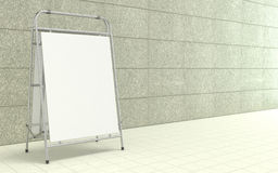 Blank white advertising stand, with copy space board in front of concrete wall. 3D Stock Photography