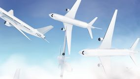 Blank white airplane falling mockup, looped switch, sky background