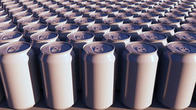 Blank white aluminum cans at sunset. Carbonated drinks or beer production. Recycling packaging. 3D rendering Royalty Free Stock Photos