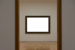 Blank White Art Gallery Frame Picture Wall White Contemporary Mo Stock Photo