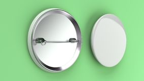 Blank white badge on green background. Pin button mockup. 3D rendering illustration Stock Photo