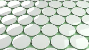 Blank white badge on green background. Pin button mockup. 3D rendering illustration Stock Photography