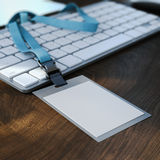 Blank white badge on the keyboard. 3d rendering Stock Image