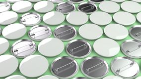 Blank white badges on green background. Pin button mockup. 3D rendering illustration Stock Photos