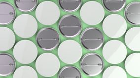 Blank white badges on green background. Pin button mockup. 3D rendering illustration Royalty Free Stock Image