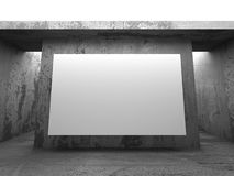 Blank white banner billboard on concrete wall. Architecture mode Stock Photography