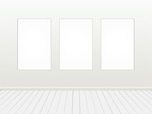 Blank white banner on brick wall. Stock Photos