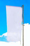 Blank White Banner Flag on Pole Royalty Free Stock Image