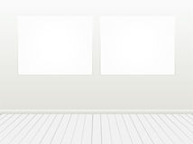 Blank white banner on grey wall. Royalty Free Stock Image