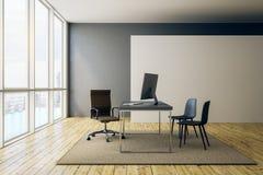 Blank white banner in modern office vector illustration