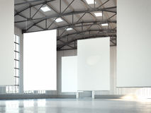 Blank white banners in hangar area. 3d rendering Stock Photo