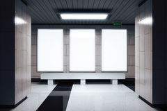 Blank white banners on the wall in empty subway hall Stock Photography