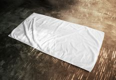 Blank White Beach Towel Mockup On Textured Floor Royalty Free Stock Photo