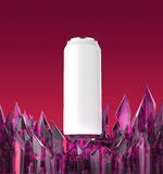 Blank white beer can mock-up on shiny purple crystal base 3d render, Royalty Free Stock Photo