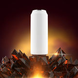 Blank white beer can mock-up on shiny red crystal base 3d render, Royalty Free Stock Image
