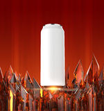 Blank white beer can mock-up on shiny red crystal base 3d render, Stock Photos
