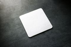 Blank white beer coasters mockup, clipping path royalty free stock photography